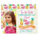 girls two-tti frutti photo 2nd birthday invitation