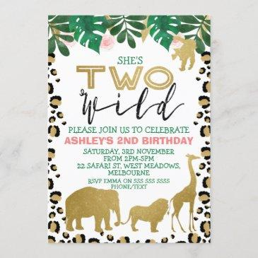 girls two wild second birthday invitation