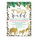 girls two wild second birthday invitation