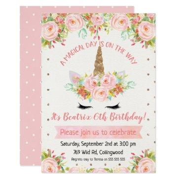 girls unicorn birthday invitations