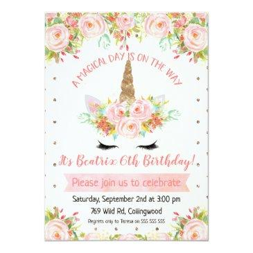 Small Girls Unicorn Birthday Invitation Front View