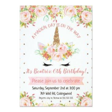 Small Girls Unicorn Birthday Invitations Front View