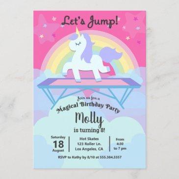 girl's unicorn trampoline jump birthday party invitation