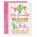 girls watercolor fiesta birthday invitation