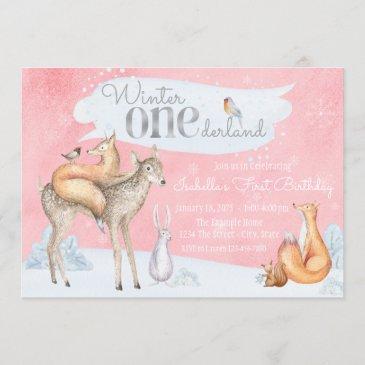 girls winter onederland woodland first birthday invitation