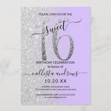 girly chic lavender silver glitter ombre sweet 16 invitation
