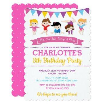 girly gymnastics birthday pink gym party invitation