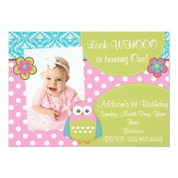 girly hoot owl design birthday invitations