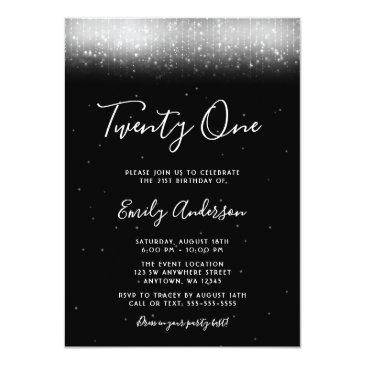 Small Glam Black And White 21st Birthday Invitation Front View