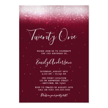 Small Glam Burgundy 21st Birthday Invitation Front View