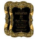 glam fabulous 50 party black lace pearl gold invitation