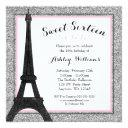 glam paris themed faux glitter sweet 16 birthday invitation