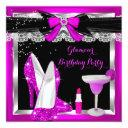 glamour pink glitter heels silver cocktail party invitations