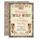 glitter cowgirl wild west birthday invitation