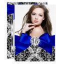glitter damask & royal blue bow sweet 16 photo invitation