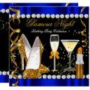 glitter glamour night blue gold black party invitation