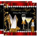 glitter glamour night red gold black party invitation