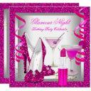 glitter hot pink glamour night martini party invitations
