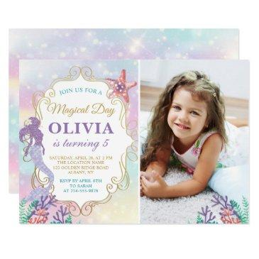 glitter mermaid birthday under the sea photo invitations