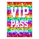glitz rainbow stripe 'vip pass' invitations