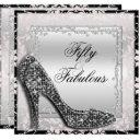 glitzy stilettos, diamonds & damask fabulous 50 invitation