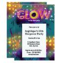 glow in the dark neon party for kids invitation
