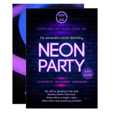 glow in the dark neon themed party invitation