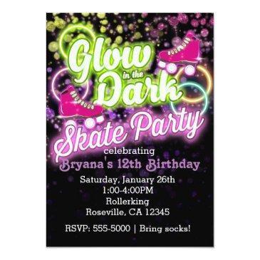 glow in the dark skate party birthday invitations