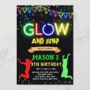 glow jump birthday invitation