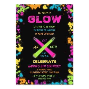 glow party neon birthday invitation