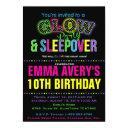 glow party sleepover birthday party invitation