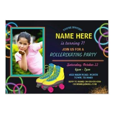 glow photo roller skating birthday invite