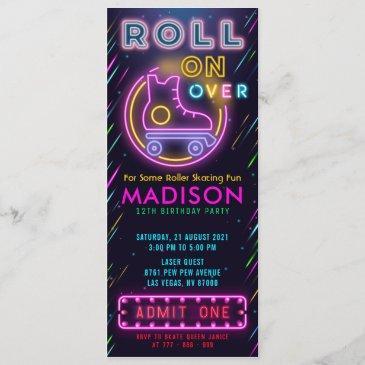 glow roller skating ticket pass birthday invitation