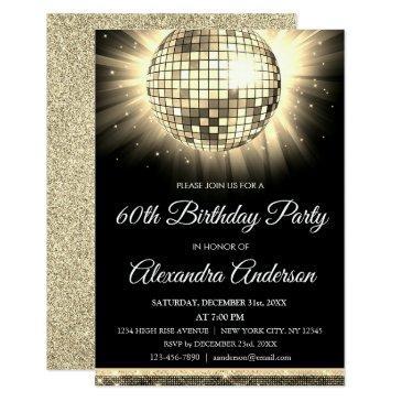 gold 60th birthday party 70's disco ball invitation