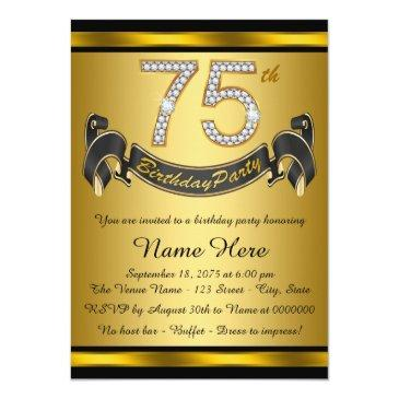 gold 75th birthday party invitation