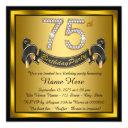 gold 75th birthday party invitations