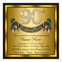 gold 90th birthday party invitation