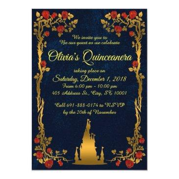 gold and navy quinceañera invitation