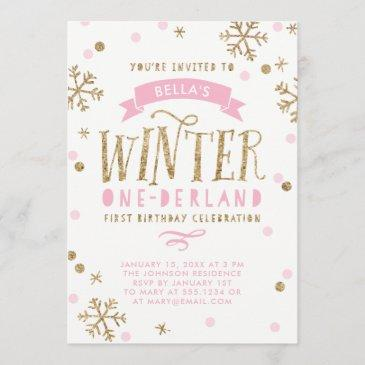gold and pink winter onederland first birthday invitation
