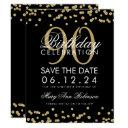 gold black 90th birthday save date confetti invitation