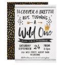gold black twins wild one birthday invitation