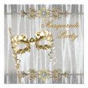 gold black white masquerade party invitation