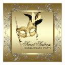 gold black white sweet sixteen masquerade party invitation