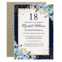 gold blue floral sparkle 18th birthday invitations