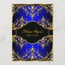 gold blue pearl vintage glamour quinceanera invitation