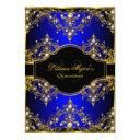 gold blue pearl vintage glamour quinceanera invitations