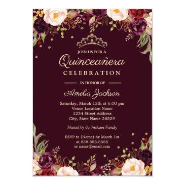 gold burgundy elegant floral quinceanera invitations