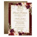 gold burgundy floral sparkle sweet sixteen invitations