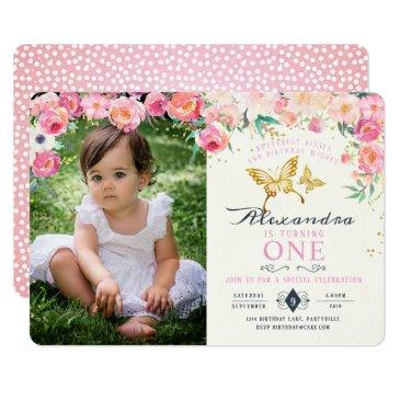 gold butterfly and pink floral birthday invitation