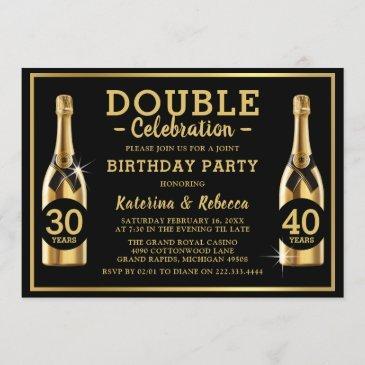 gold champagne elegant double birthday party invitation
